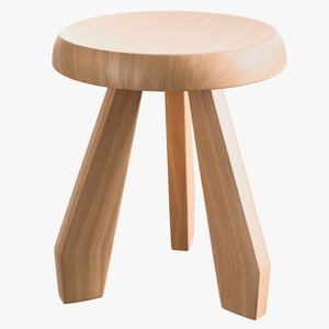realistic natural oak tabouret 3D model