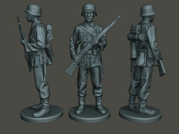3D german soldier ww2 standguard model