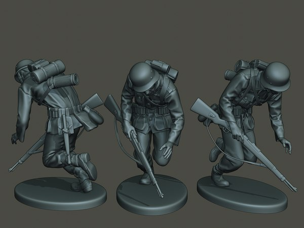 3D german soldier ww2 shooted