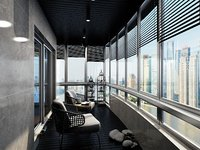 3D model bedroom glazed balcony