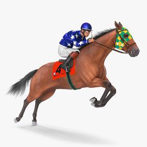 3D jumping bay racing horse