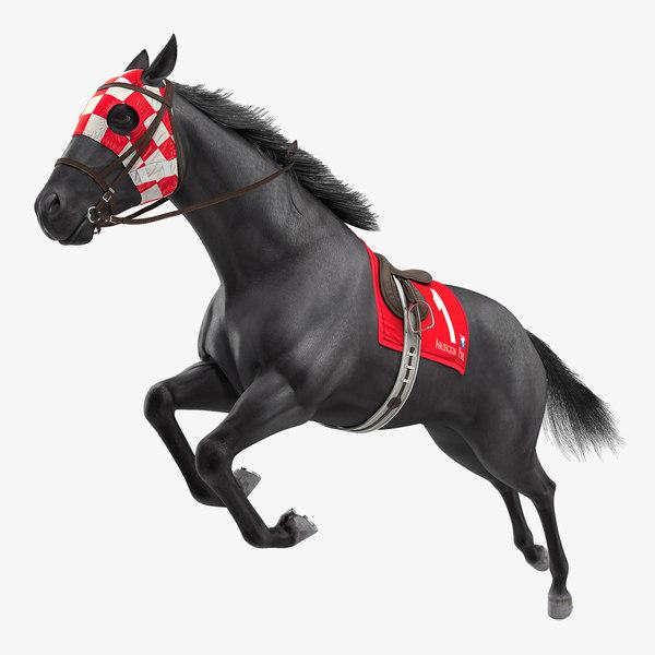 3D jumping black racing horse model