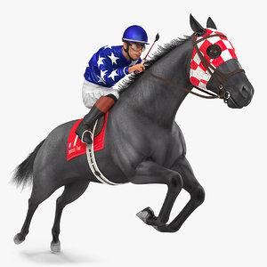 jumping black racing horse 3D