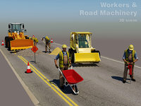 Workers & Road Machinery