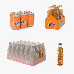fanta bottles packages pack 3D model