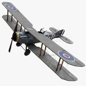 3D bristol f2b ww1 airplane model