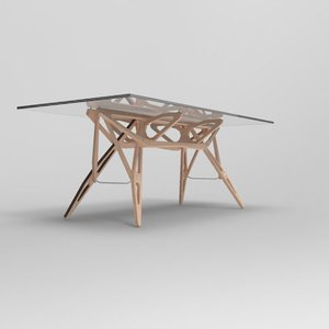 3D oak glass table mollino model