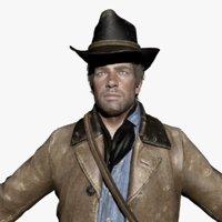 3D model cowboy male character