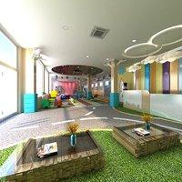 kindergarten hall playground toys 3D