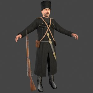 cossack soldier 3D model