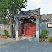 traditional chinese gate quadrangle 3D model