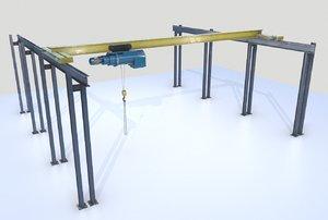 3D model industrial crane