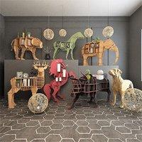 wooden decorative animal figures 3D