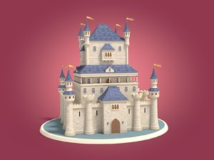 cartoon castle 3d obj