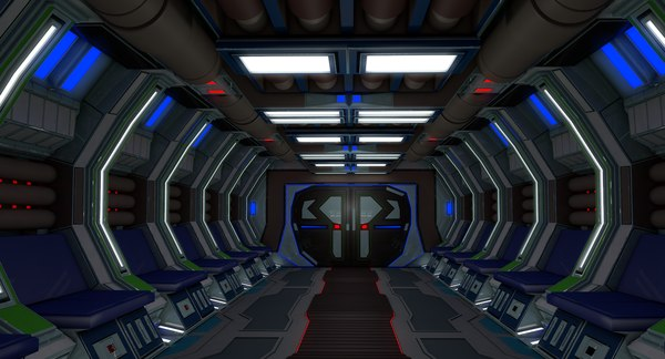 3D model sci fi spaceship interior