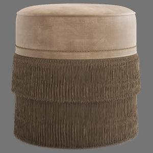 3D model globewest kennedy fringed ottoman
