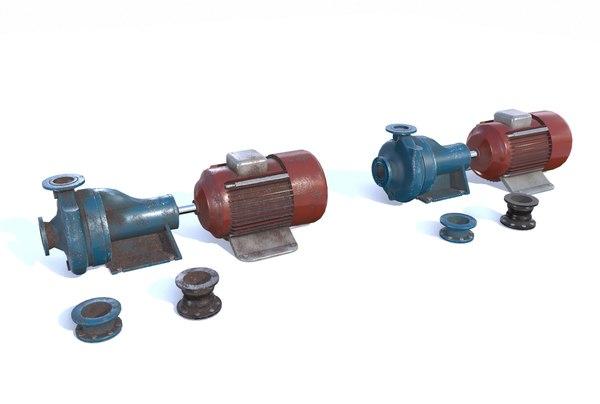 electric motor pump pbr 3D model