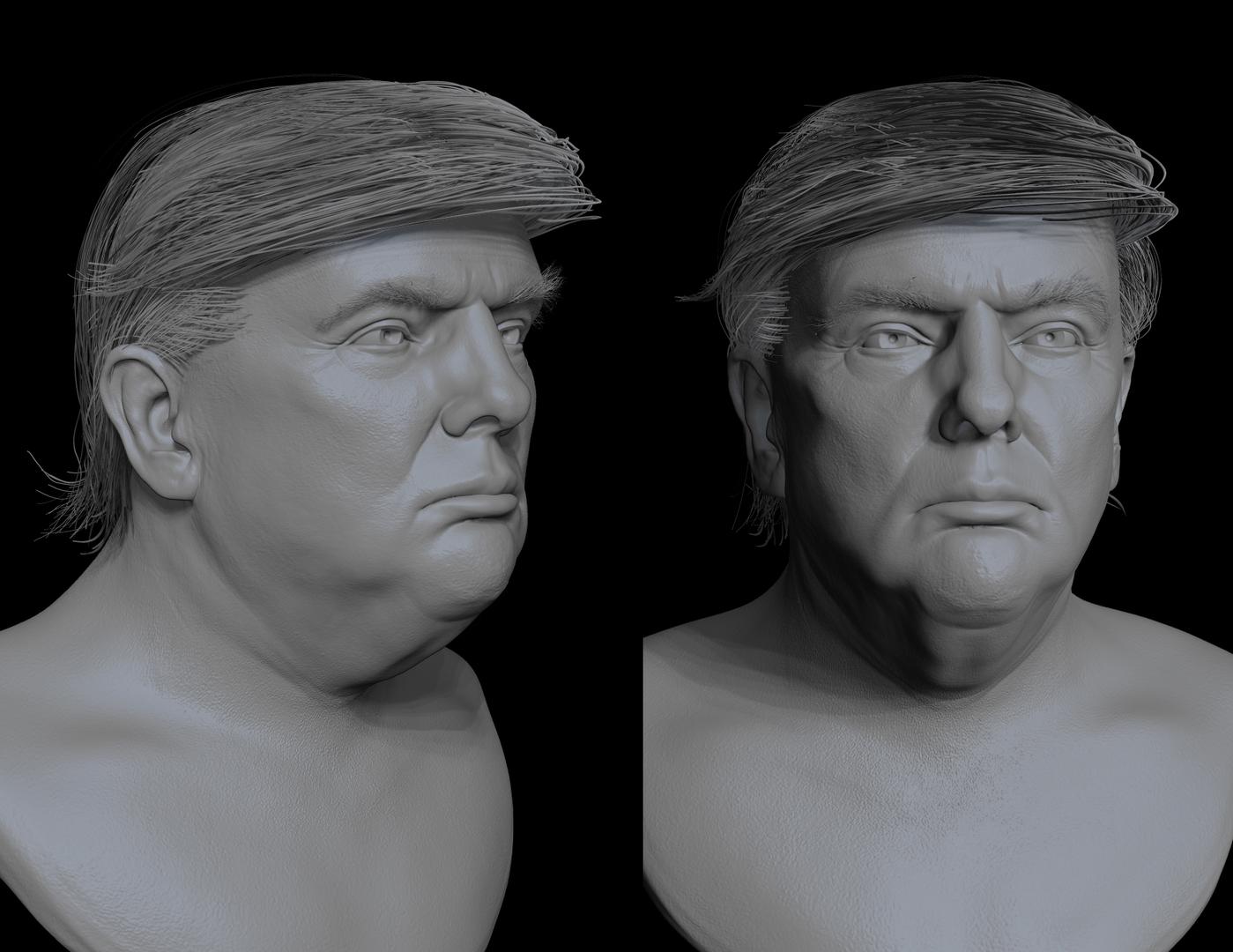 donald trump bust sculpt 3D model