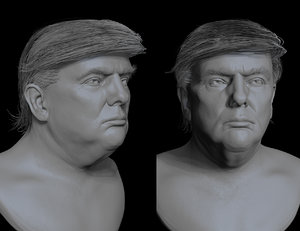 donald trump bust sculpt 3D model