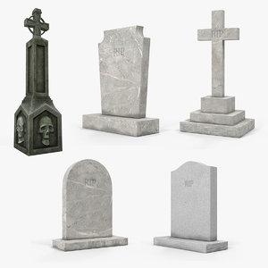 halloween gravestones stone 3D