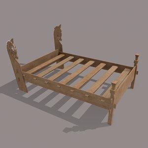 viking double bed frame 3D model