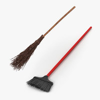 3D model brooms witch halloween