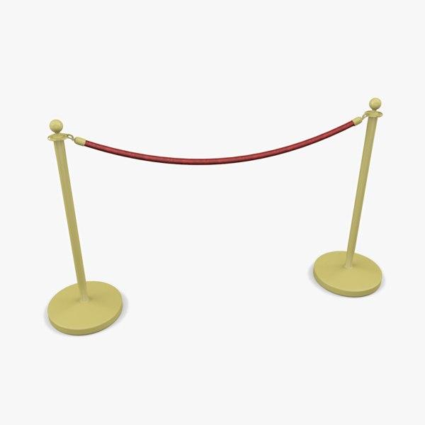 velvet rope barrier 3D model