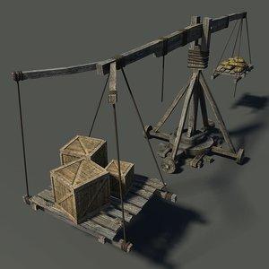 medieval wooden crane 3D