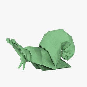 origami snail 3D model