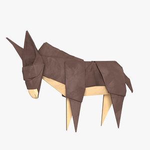 3D origami donkey