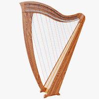 harp music instrument 3D model