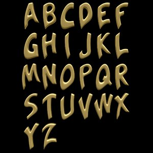 3D letters alphabet b
