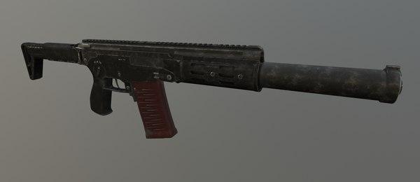 amb-17 suppressed assault rifle 3D model