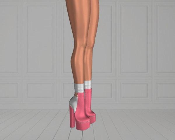 3D woman boots shoe