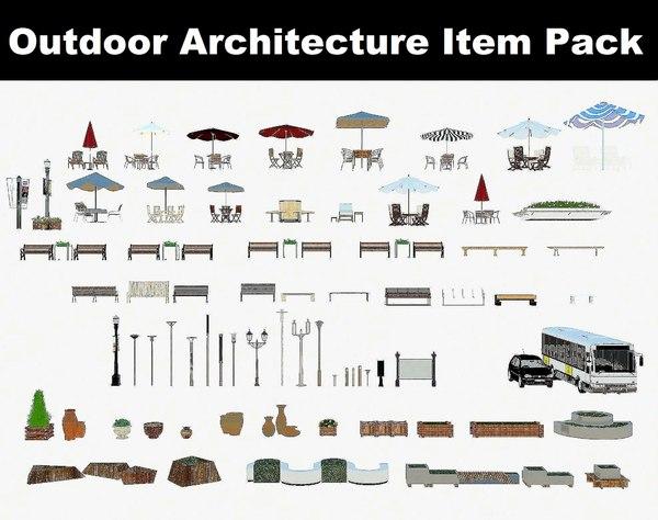3D benches patio umbrella model