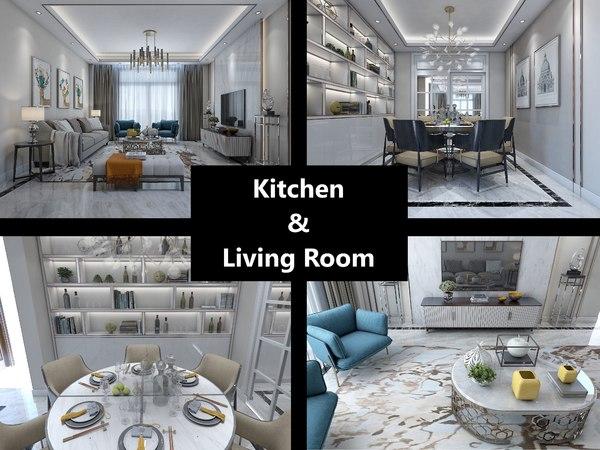 3D interior kitchen living room