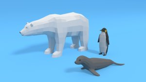 polar animals modeled bear 3D model