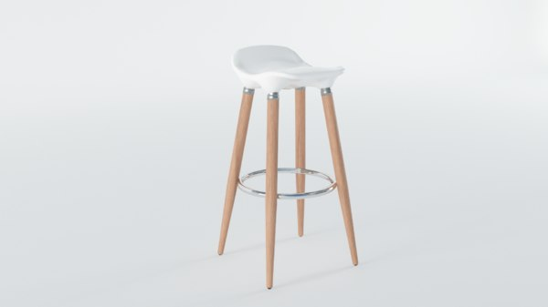 white wooden barstool 3D model