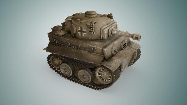 mini tiger tank 3D model