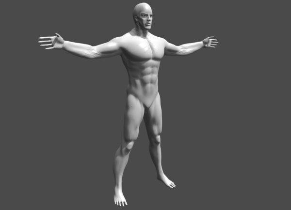 3D warrior man base mesh