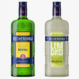 3D becherovka classic lemond liqueur bottles model