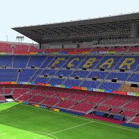 3D model camp nou stadium football