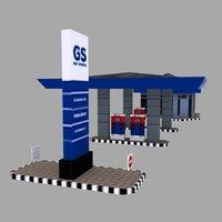 3D gas station building model