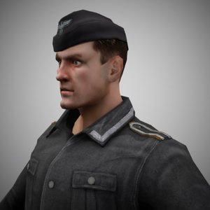 rigged german soldier 3D