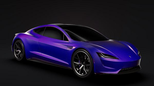 sport car tesla roadster 3D