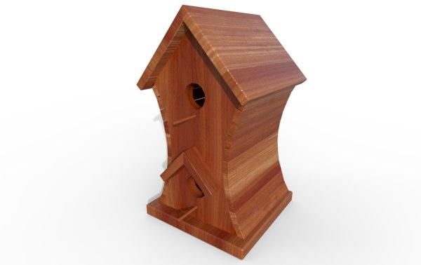 3D model wooden bird house