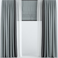 3D curtains roman tulle