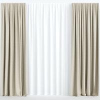 curtains beige tulle 3D model