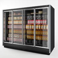 3D vertical glass door black model