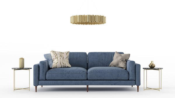 3D sofa table vases model